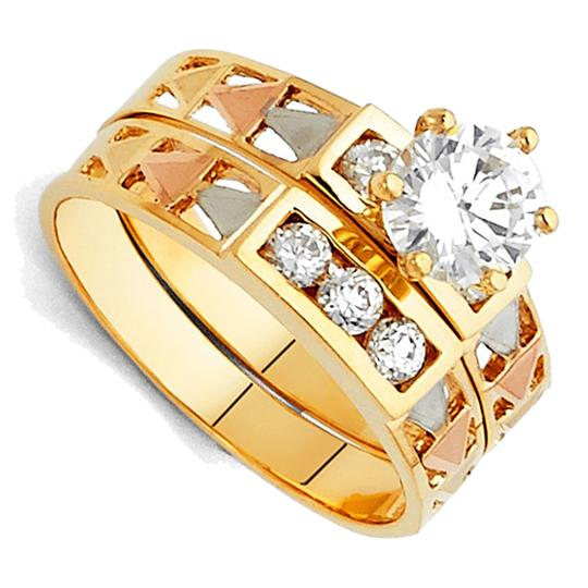 Top Gold & Diamond Jewelry 14K Tri Color Gold Cubic Zirconia Engagement and Wedding Band Ring Set Image 2