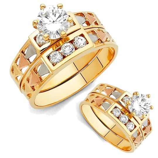 Top Gold & Diamond Jewelry 14K Tri Color Gold Cubic Zirconia Engagement and Wedding Band Ring Set Image 3