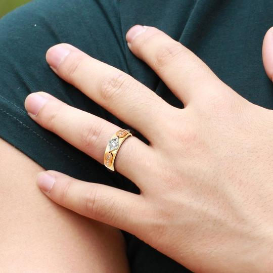 Top Gold & Diamond Jewelry 14K Tri Color Gold Cubic Zirconia Men's Wedding Band Image 1