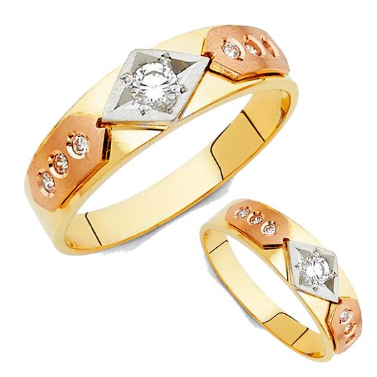 Top Gold & Diamond Jewelry 14K Tri Color Gold Cubic Zirconia Men's Wedding Band Image 3