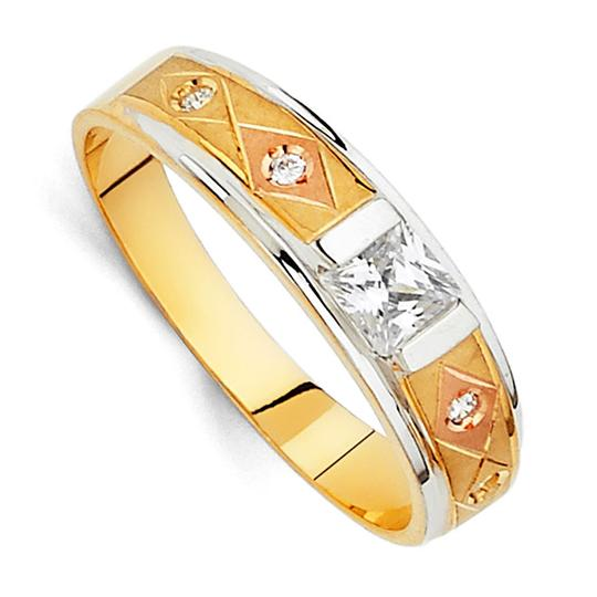 Top Gold & Diamond Jewelry 14K Tri Color Gold Cubic Zirconia Men's Wedding Band Image 2