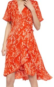 soaked in luxury short dress orange Summer Lanelle Wrap on Tradesy