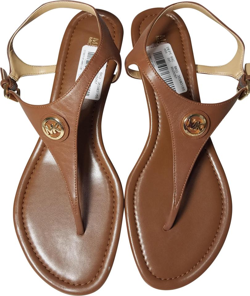 7799bc42672e MICHAEL Michael Kors Brown Luggage Ramona Thong Wedge T-strap Gold Leather  Sandals