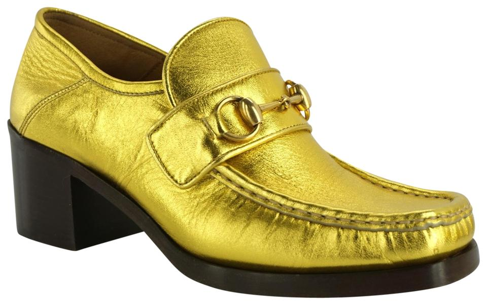 c068594dc89 Gucci Gold Horsebit Metallic Leather Vegas Loafer Collapsible Pumps ...