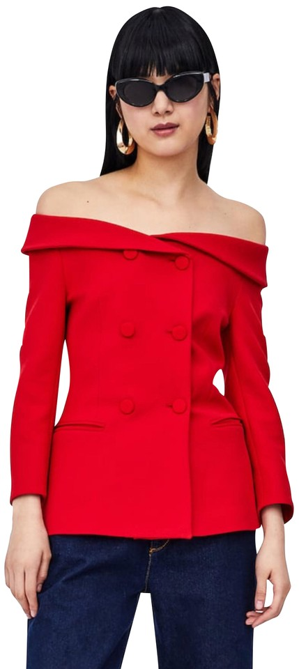 7b0e87fa62ee Zara Red Double Breasted Boatneck Off The Shoulder Blazer Size 8 (M ...
