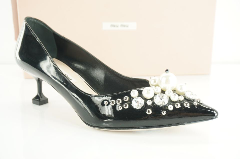 dac8d986ce4 Miu Miu Black Patent Pearly-embellished Pointed Toe Low-heel Pumps ...