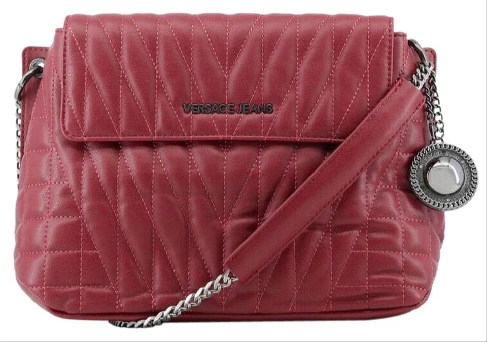 ec6068f1e370 Versace Jeans Collection Quilted Faux Maroon Synthetic Leather Cross ...