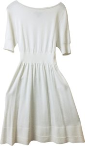 St. John short dress Cream White Knitted Fit And Flare on Tradesy