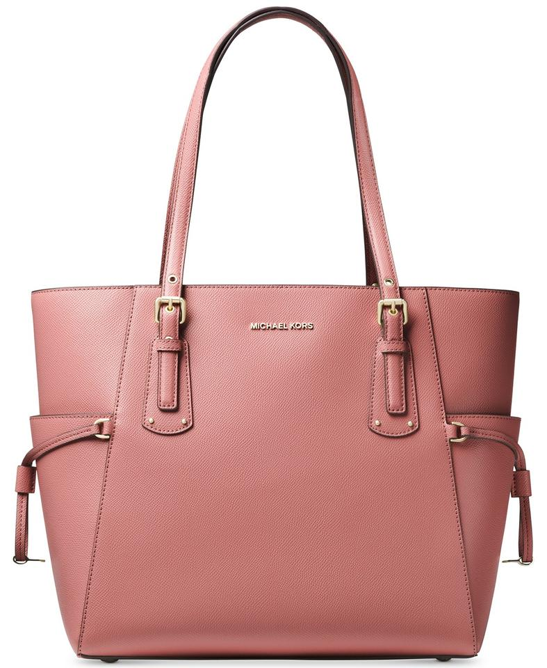 755390e16508 Michael Kors East West Voyager Crossgrain Rose/Gold Leather Tote ...