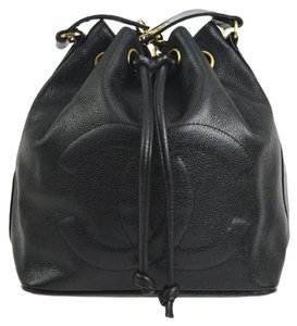 748d27105bd8 Added to Shopping Bag. Chanel Vintage Bucket Leather Shoulder Bag. Chanel  Drawstring Vintage Cc Black ...