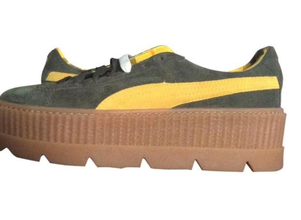 bd92fe8b358a FENTY PUMA by Rihanna Green   Yellow Creeper Siede Cleated Sneakers Wedges