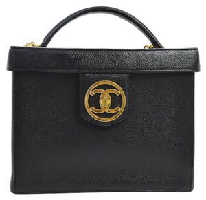 Chanel Vintage Vanity Case Caviar Satchel in Black