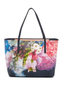 Ted Baker Chelsea Floral Shopper Shoulder Black Leather Tote in Blue