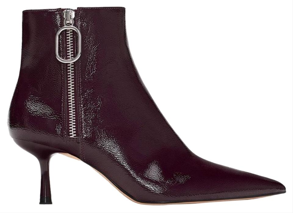 731a4ecfce74 Zara Burgundy Patent Leather Heeled Ankle with Zip Detail Boots ...