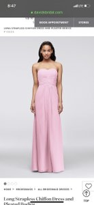 David's Bridal Tickled Chiffon Long Strapless and Pleated Bodice Feminine Bridesmaid/Mob Dress Size 4 (S)