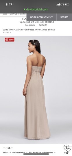 David's Bridal Tickled Chiffon Long Strapless and Pleated Bodice Feminine Bridesmaid/Mob Dress Size 4 (S) Image 2