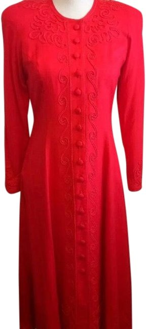 Item - Red Button Down Embroidered Rayon Long Formal Dress Size Petite 4 (S)