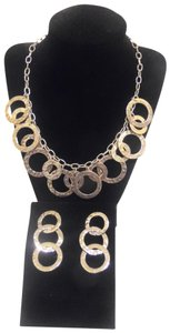 Colleen Lopez Colleen Lopez Silver-tone Hammered Circle Necklace and Earring Set