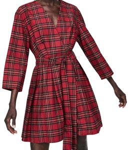 Zara short dress red Checkered Belted V-neck Belted Pockets on Tradesy