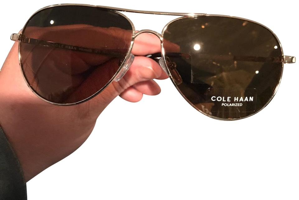 8bfdaf1259 Cole Haan Gold New Unisex Polarized Frame Brown Aviator Ch7037 Sunglasses