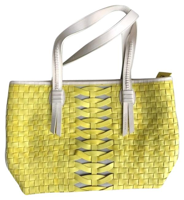 Item - Woven Yellow and Cream Leather Tote