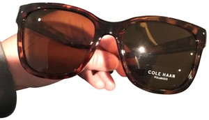 Cole Haan New Cole Haan Unisex Polarized Silver Frame Black Aviator Sunglasses - CH7037