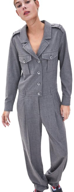 Item - Gray Long Belted with Pockets Romper/Jumpsuit