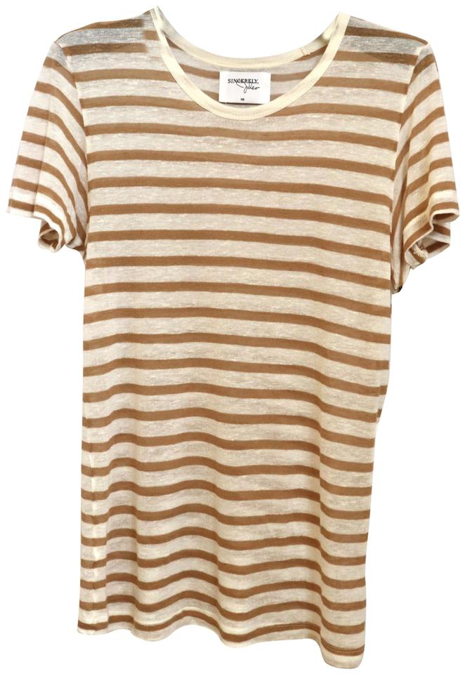 f46a034ce2 Sincerely Jules Striped Linen Crewneck Sheer T Shirt Mustard Image 0 ...