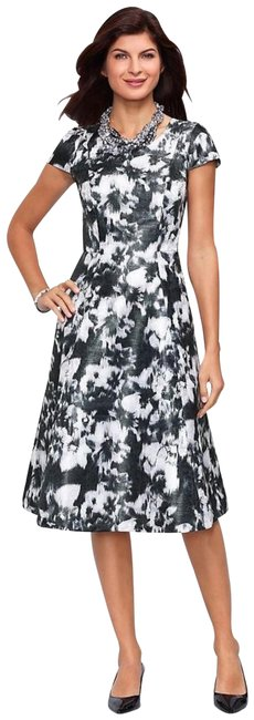 Item - Black Womens Floral-print Full Mid-length Cocktail Dress Size 4 (S)