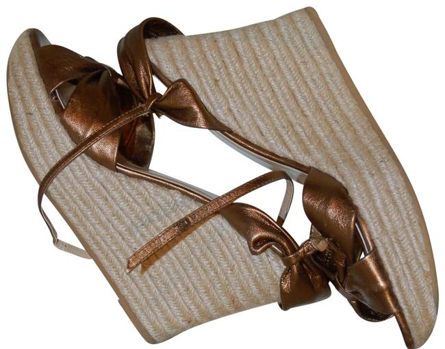 Item - Bronze Womens Leather Bow Espadrilles Sandals Wedges Size US 9.5 Regular (M, B)