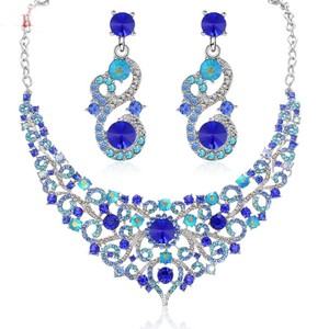 Fashion Jewelry For Everyone Green Blue White Rhinestone Necklace