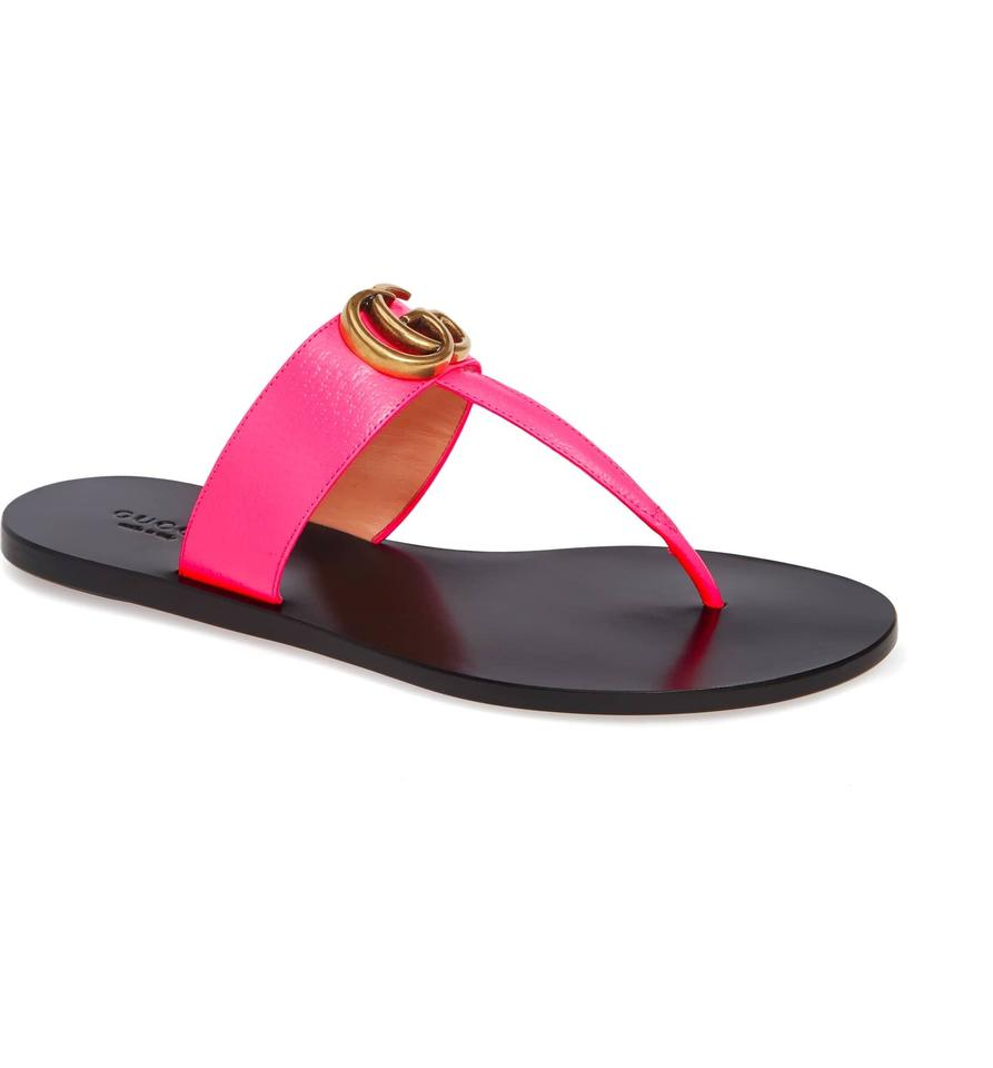 cbf6ab40a279 Gucci Pink Marmont New Leather with Double G Sandals Size US 6 ...