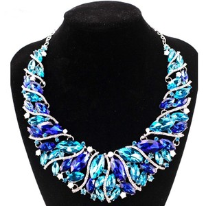 Fashion Jewelry For Everyone Green Blue Multiple Color Rhinestone Turkish Choker Necklace