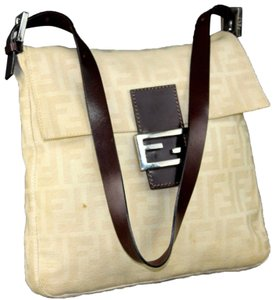 Fendi 'mamma Zucco' Style Large F Logo Shades Of Tan/Brown Chrome Hardware Mint Condition Shoulder Bag