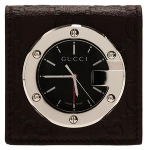 57291d6e691 Gucci Black Stainless Steel Brow Leather Unisex Alarm Clock 40mm Watch