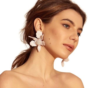 Lele Sadoughi Lily Flower Drop clip on Earrings