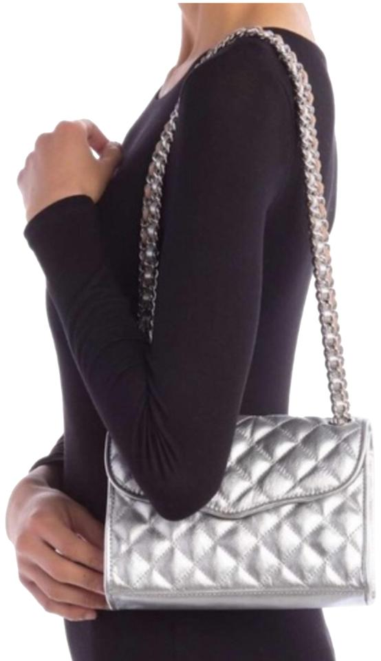 check out factory outlet shopping Rebecca Minkoff Mini Quilted Affair Silver Leather Cross Body Bag ...