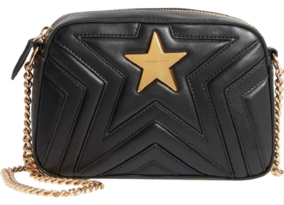 Stella McCartney New Star Camera Quilted Faux Black Leather Cross ... 495275658ac60