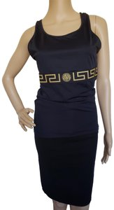 Versace Monogram Medusa Metallic Sleeveless Logo Top Black