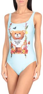 Moschino Animal Print Logo Floral Swimsuit Toy Bear T Shirt Multicolor