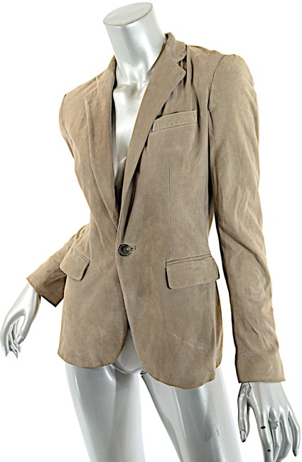 Item - Taupe Light Softest Suede One Button Jacket Blazer Size 4 (S)
