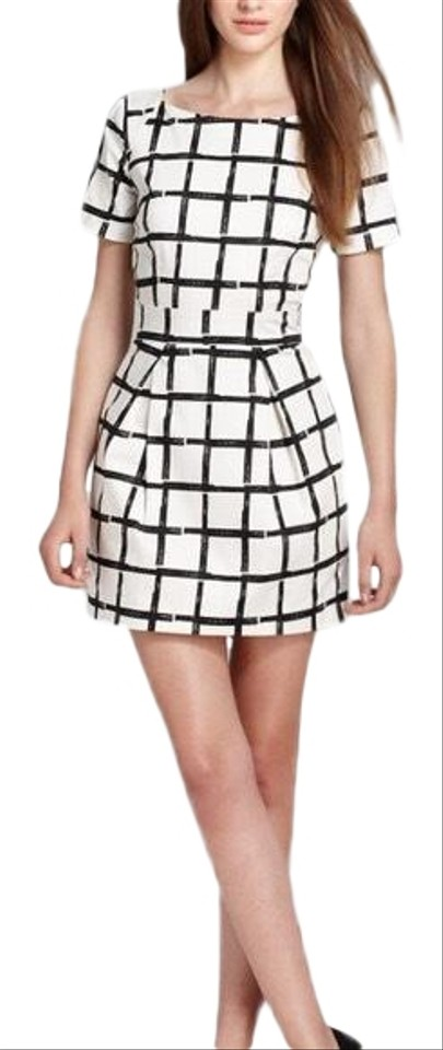 8c7e488c54 French Connection White Black Paint Check Ritchie Short Casual Dress ...