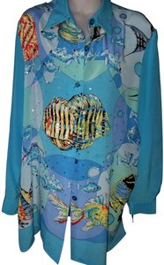 Diane Gilman Silk Ocean Theme Sequins Top Blue