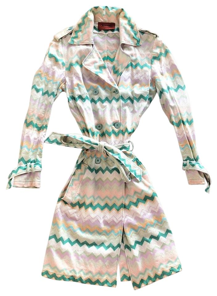 Missoni Multicolor Coated Flame Stitch Trench Coat Jacket Size 8 (M ... 2a2cdc2b5