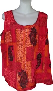 Diane Gilman Tank Sequins Top Red/Orange