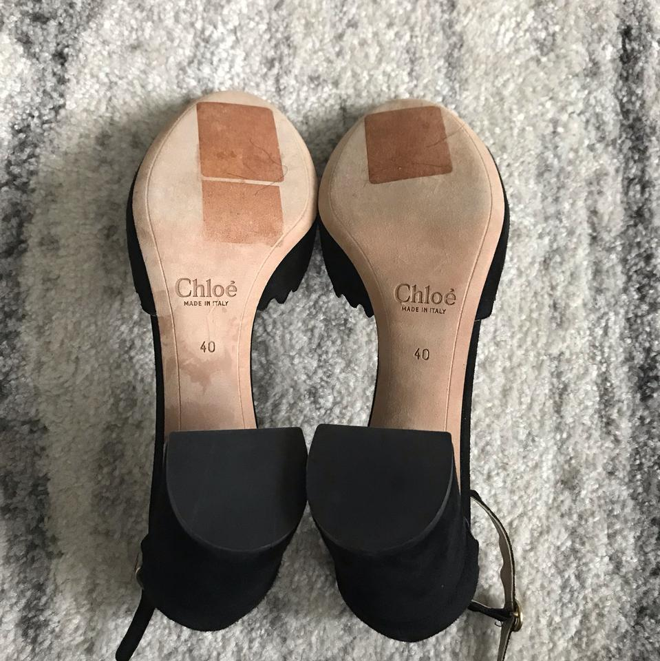 4cca32fb24b Chloé Black Lauren Scalloped D orsay Suede Pumps Size EU 40 (Approx ...