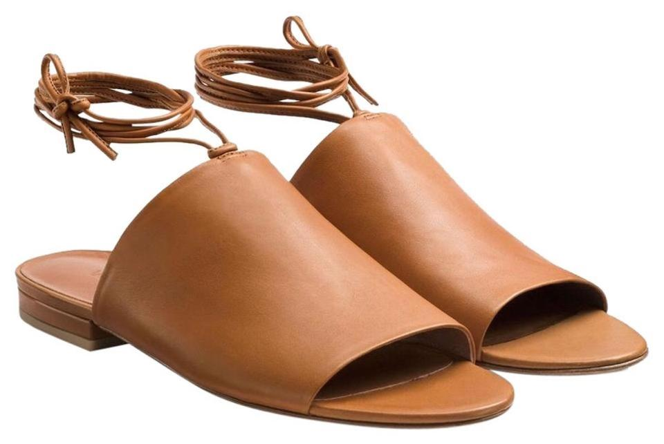 2f0739165fde3 Vince Camel Caramel Tan New Soft Leather Mules Wrap Around Flats Sandals
