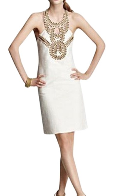 Item - Cream Nubia Beaded Short Cocktail Dress Size 4 (S)