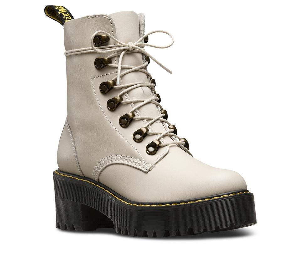 3a394c084ff5 Dr. Martens White Leona 7 Eye Hiker Bone Vintage Smooth Boots Booties
