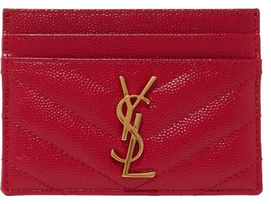 Saint Laurent Red Quilted Leather Card Holder Wallet - Tradesy 514186be57